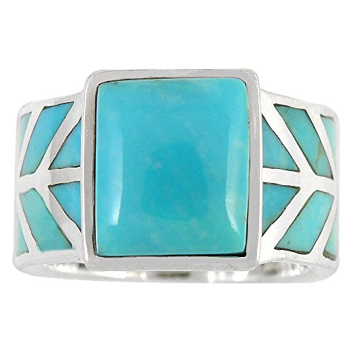 Turquoise Ring in Sterling Silver 925 & Genuine Turquoise Size 6 to 11 (9) by Turquoise Network