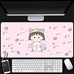 Mopoq Cherry Maruko precision seaming craftsmanship feel comfortable mouse pad oversized upgrade thickening Japanese animation simple girl dormitory non-slip seaming keyboard desk mat (Color : 1)