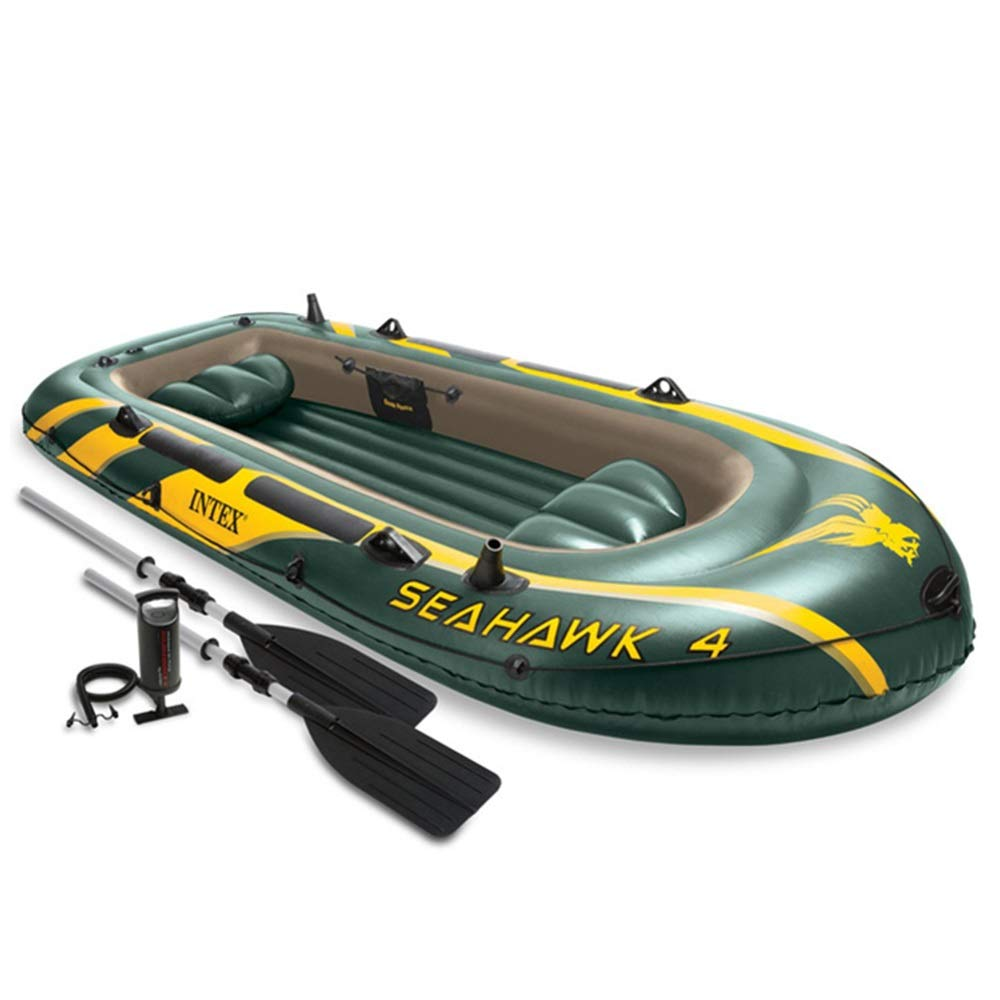 Teerwere-pht Double Inflatable Kayak Four-Person Inflatable Boat 4 People Rubber Rowing Fishing Boat Thickening Inflatable Fishing Boat Drifting Boat Kayak Set (Color : Green, Size : 351×145×48CM) by Teerwere-pht