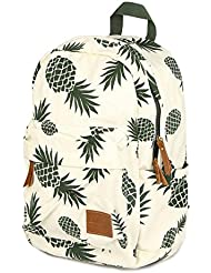 CCOHO White Pineapple School Backpack Travel Daypack College Canvas Bookbag Laptop Bag Laptop Packs Women