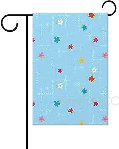 Zacathan432 Seasonal Garden Flag, 28 x 40 Inch Outdoor Flag, Simply Happy - Dash Floral Blue, Garden Banner, Yard Flag