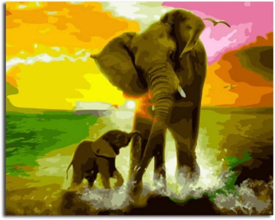 APCHYWELL DIY Press Pintura Digital Pintura Al Óleo Lienzo Cepillo como Mamá Elefante Jugar Agua Preimpreso Regalo Oficina de Arte Bar Salón Kit de Decoración para El Hogar