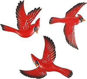Cabilock 3Pcs Flying Small Birds Wall Sculpture Decorative Figurines Metal Wall Hanging Animal Decors