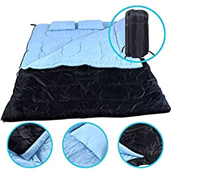 "2 Person 86"" x 60"" W /2 Pillows Large Double Sleeping Bag 23F/-5? Camping Hiking US Ship"