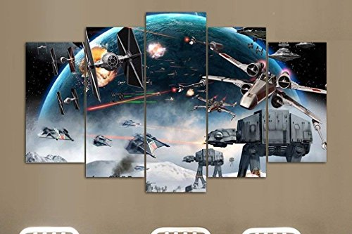 NATVVA 5 Piece Canvas Star Wars Artwork Canvas Star Wars Battle Paintings on Canvas Wall Art for Office and Home Wall Decor (Star Wars Battle 5 Piece Canvas Painting)