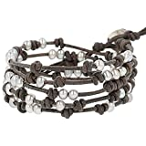 Chan Luu Freshwater Cultured Pearl 5 Wrap Bracelet on Natural Grey Leather