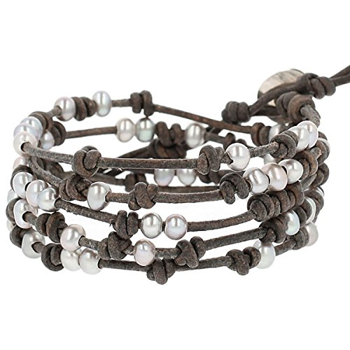 Chan Luu Freshwater Cultured Pearl 5 Wrap Bracelet on Natural Grey Leather by Chan Luu
