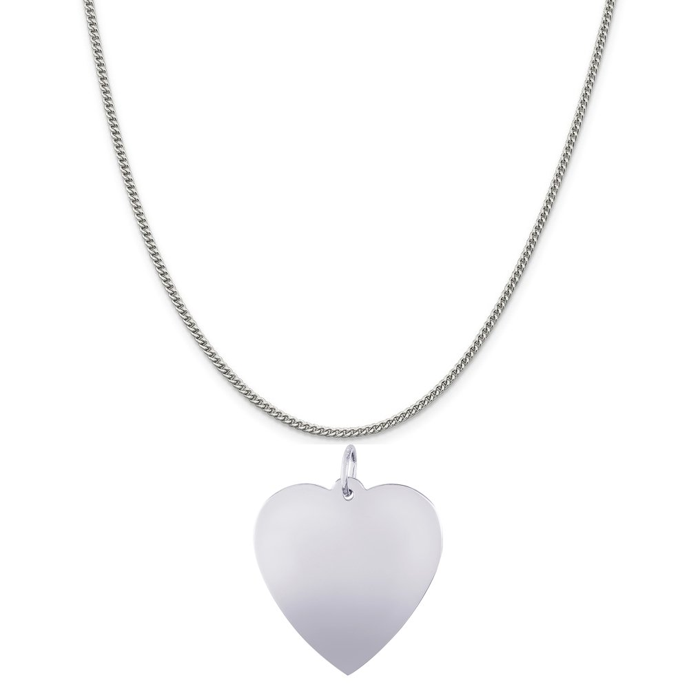 Rembrandt Charms Sterling Silver Large Heart Charm on a 16 18 or 20 inch Rope Box or Curb Chain Necklace
