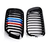 2X Glossy Black M-Color High Impact Polystyrene Front Kidney Grille Grill Set for BMW 1999-2002 E46 2D Coupe Cabriolet