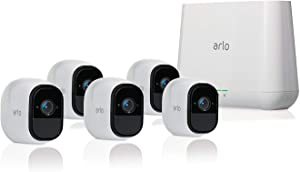 Arlo Pro 2 VMS4530P-100NAR Wireless Home Security Camera System with Siren, Rechargeable, Night Vision, Indoor/Outdoor, 1080p, 2-Way Audio, Wall Mount, 5 Camera Kit, White (Renewed)