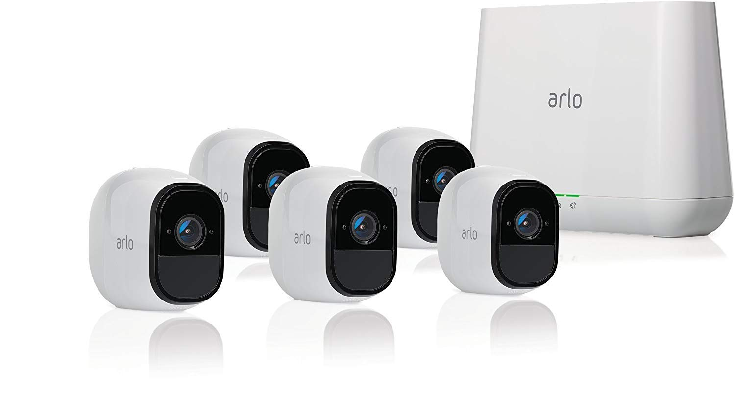 Arlo Pro 2 VMS4530P-100NAR Wireless Home Security Camera System with Siren, Rechargeable, Night Vision, Indoor/Outdoor, 1080p, 2-Way Audio, Wall Mount, 5 Camera Kit, White (Renewed) by Arlo