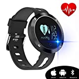 Kingkok Blood Pressure Heart Rate Monitor Step Counter Watch Sleep Monitor Message Reminder Smart Fitness Trackers Waterproof [Black]