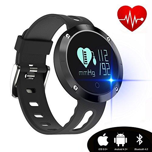 kingkok Blood Pressure Heart Rate Monitor Step Counter Watch Sleep Monitor Message Reminder Smart Fitness Trackers Waterproof [Black]