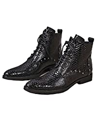 US Size 5-12 New Fashion Alligator Print Leather Mens Dress Lace Up Ankle Boots Shoes