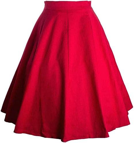 HEHEAB Falda,Rojo Spandex Algodón Algodón Cintura Alta Faldas Vintage Womens Una Línea Skater Swing Falda Pin Up Rojo Verano Falda Midi: Amazon.es: Deportes y aire libre
