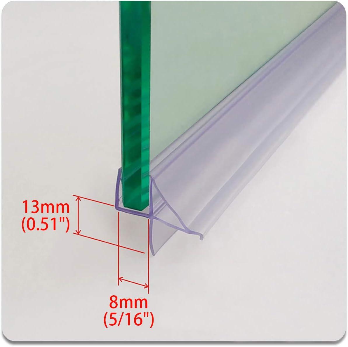 "Cozylkx Frameless Glass Door Bottom Gap Seal, 5/16 Inch Glass, 0.51"" Gap, Shower Room Bathroom Pull-Push Door Sealing Sweep Stop Shower Leaking"