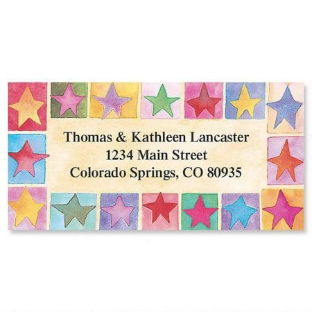 Colorful Images Stars on Parade Personalized Return Address labels- Set of 144 1-1/8