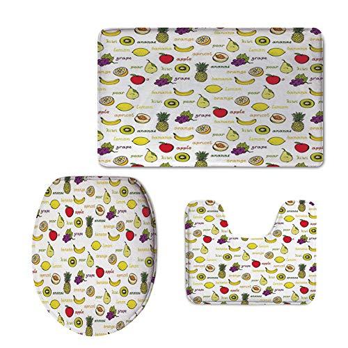 Fashion 3D Baseball Printed,Fruits,Kiwi Banana Plums Lemon Orange Pear Grape Apricot Kitchen Food Print Decorative,Yellow Cream Purple Ruby,U-Shaped Toilet Mat+Area Rug+Toilet Lid Covers 3PCS/Set
