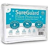 Set of 2 Queen Size SureGuard Pillow Protectors - 100% Waterproof, Bed Bug Proof, Hypoallergenic - Premium Zippered Cotton Terry Covers - 10 Year Warranty