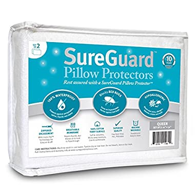 Set of 2 Queen Size SureGuard Pillow Protectors - 100% Waterproof, Bed Bug Proof, Hypoallergenic - Premium Zippered Cotton Terry Covers - 10 Year Warranty