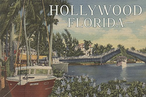 Hollywood, Florida - Boats and Canal Drawbridge - Vintage Postcard (12x18 SIGNED Print Master Art Print w/Certificate of Authenticity - Wall Decor Travel ()