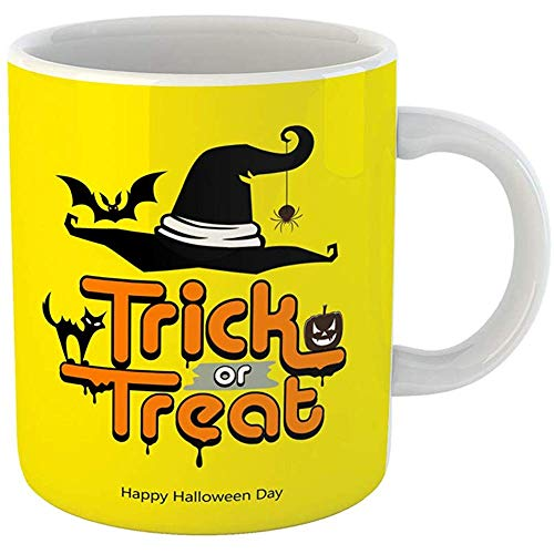 Coffee Tea Mug Gift 11 Ounces Ceramic Funny Trick Treat Message Hat Pumpkin Cat Bat Happy Halloween Day on Yellow Gifts For Family Friends Coworkers Boss Mug