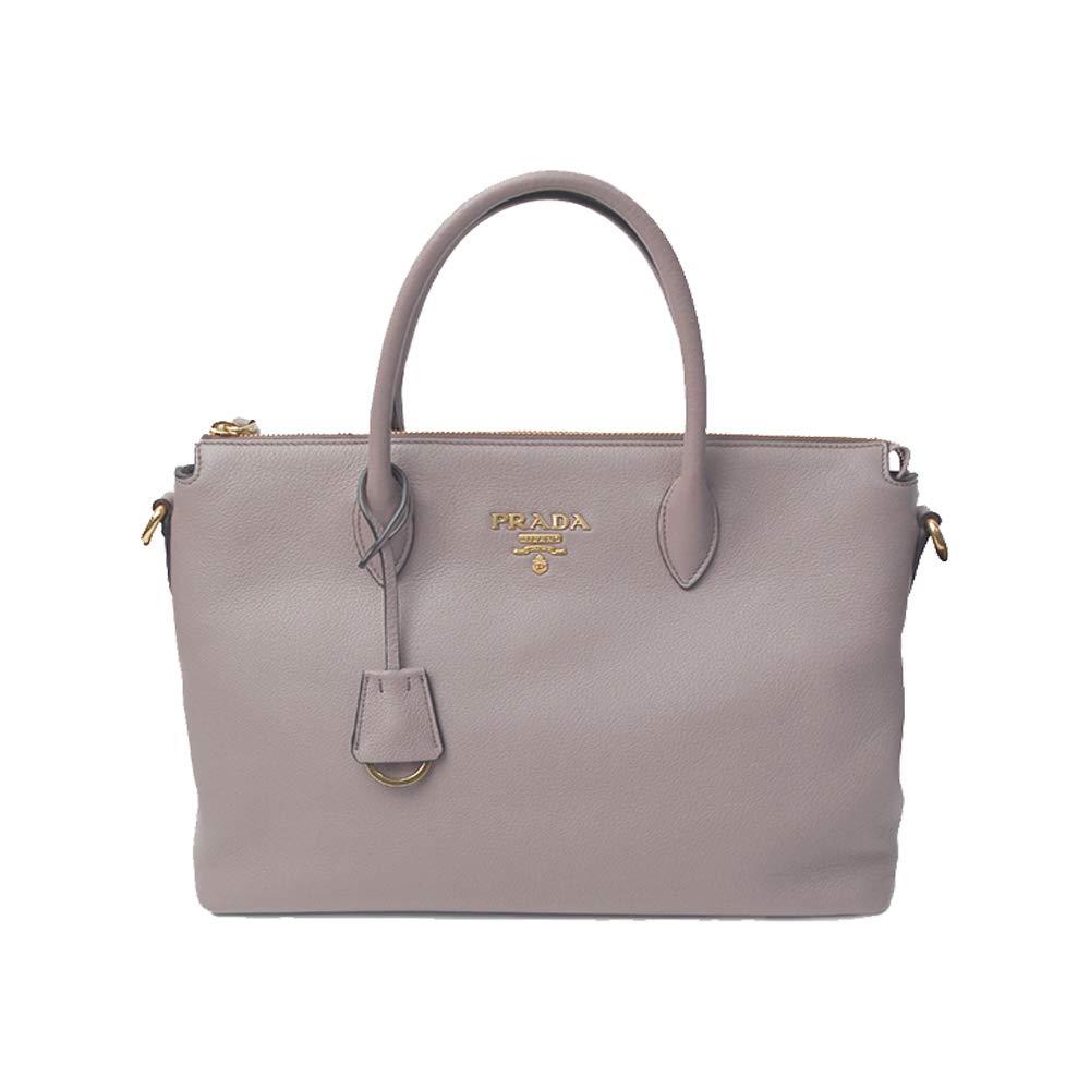 9e4a66f78b62 Amazon.com: Prada Women's Vitello Phenix Handbag 1ba063 Gray Leather Tote:  Shoes
