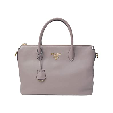 Amazon.com  Prada Women s Vitello Phenix Handbag 1ba063 Gray Leather Tote   Shoes 1e584f6a4140e