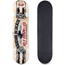 Bormart Skateboards 31 Inch Pro Complete Standard Skateboard 8 Layer Maple Skateboard Deck for Extreme Sports Outdoors Durable Skate Board for Beginners and Pro