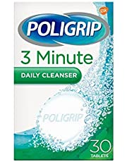 Poligrip Denture Cleaning Tablets, 3 Minute Daily Cleanser, 30 Tablets