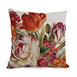 NICEPLW The Flower Art pillow covers of ,18 x 18 inches / 45 by 45 cm decoration,gift for study room,girls,dining room,bar,bedroom,floor (both sides)