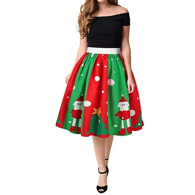 ZODOF Vestido de Navidad Mujeres Navidad Papá Noel Estampado en 3D Falda elástica Cosplay de Cintura