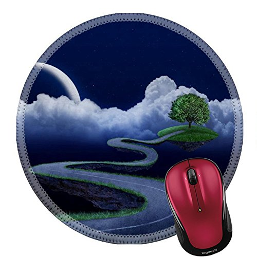 Liili Round Mouse Pad Natural Rubber Mousepad Suspended in the night sky road that leads to the tree Photo 12235504