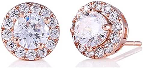 GULICX Particular Rose Gold Tone Round Rhinestone Crystal Women Stud Eearrings