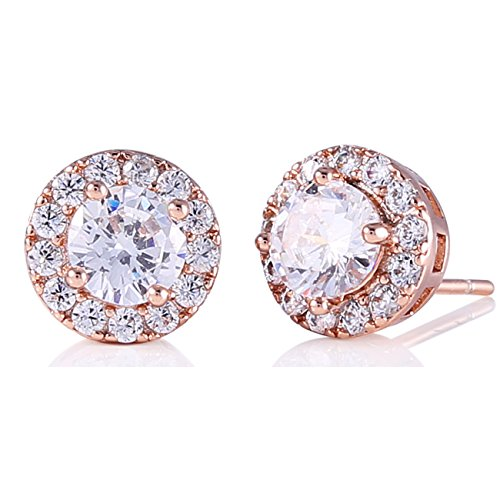 GULICX Women Rose Gold Tone Cubic Zirconia Crystal Round Halo Stud Earrings