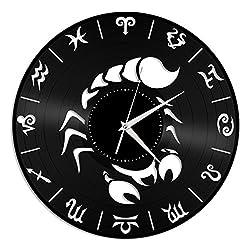 VinylShopUS - Scorpio Unique Zodiac Fashioned Vinyl Wall Clock for Home Decor Decorative | Home Decoration Decor