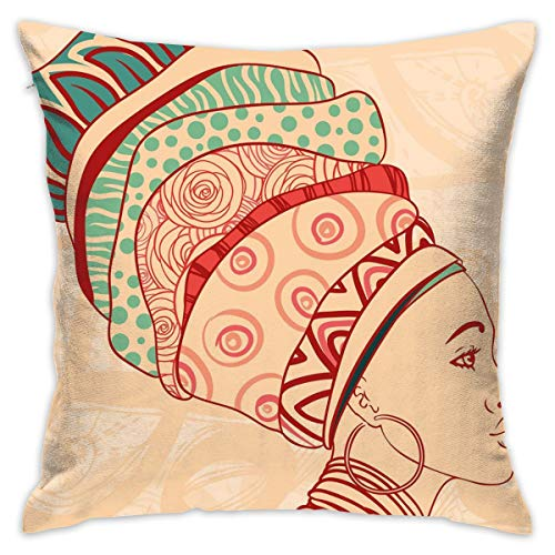 Hamsa Necklace Vibrant (R0k2t0 African Woman Throw Pillow Cushion Cover, Local Female Portrait with Necklace Earring and Ethnic Turban Ornaments,Decorative Square Accent Pillow Case,18 X 18 Inches,Peach Red Teal_2)