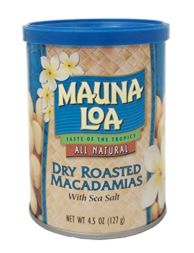 Mauna Loa Macadamias, Dry Roasted with Sea Salt, 4.5 Ounce Container Macadamia Nut
