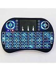 لوحة مفاتيح وماوس هوائي باللمس لاسلكي صغير بإضاءة خلفية 2.4 جيجاهرتز لجهاز الكمبيوتر الشخصي، وجهاز اندرويد تي في بوكس
