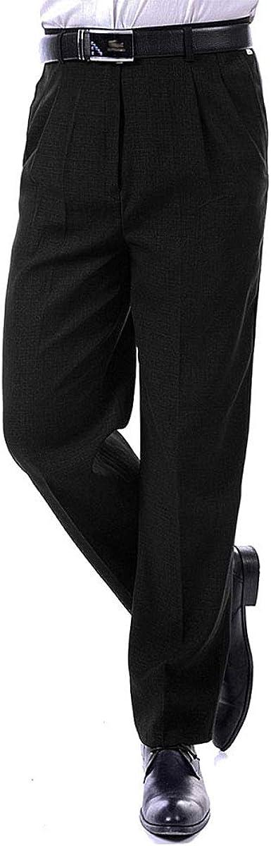 Bozevon Pantalones De Traje De Hombre Formal Pantalones De Vestir Recto De Cintura Alta Primavera Y Verano 31 Negro Amazon Es Ropa Y Accesorios