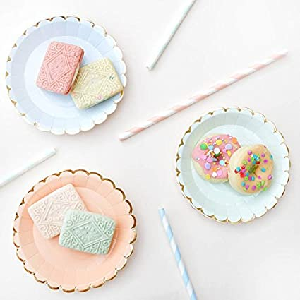Amazon.com | JEWH [ 25pcs] Lovely Straw - Flower Golden Edge - Disposable Tableware - Pink paper Plate cup - Straw cake wooden knife fork - Party supplies ...