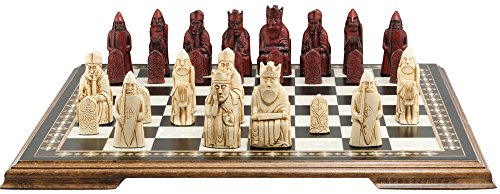 Isle of Lewis White  Burgundy Full Size Chess Set in Presentation Box – Handmade in the UK