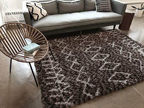Well Woven Nomad Parley Modern Moroccan Trellis Dark Gray Soft Fluffly Shag Area Rug 7'10″ x 9'10″