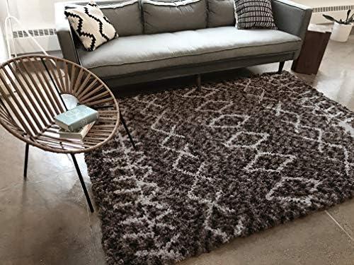 Well Woven Nomad Parley Modern Moroccan Trellis Dark Gray Soft Fluffly Shag Area Rug 3 11 x 5 3