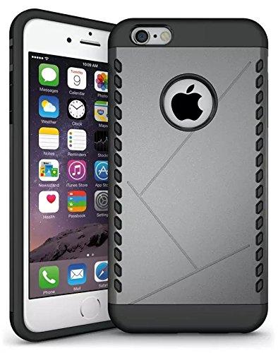 iPhone 6S Plus Case, Lantier Case Cool 2 en 1 double couche Combo souple TPU Bumper + PC Shell Shock Absorption Slip Case Slim mince Armure Anti pour Apple iPhone 6 Plus, iPhone 6S plus Aegis Gris
