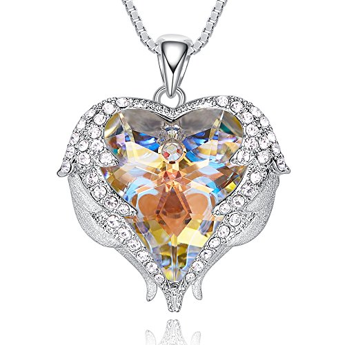 CDE Necklace for Women, Blue Heart of Ocean Birthstone Crystal Pendant Necklaces Angel Wings Jewelry Gifts, Crystals from Swarovski (Angel Heart Pendant)