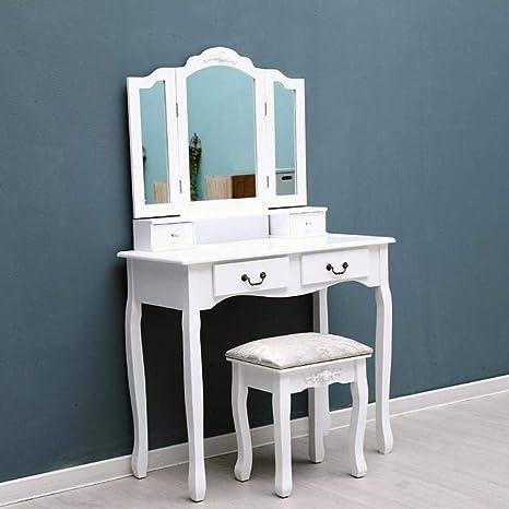Amazon.com: 1 Set Tri-Folding Mirror 4 Drawers Dressing ...