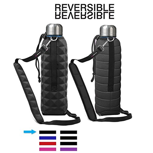 (Water Bottle Carrier with Shoulder Strap Insulated Water Bottle Holder to Protect Drink Carrier Double Sided Reversible Holder 25oz Snug Fit Water Bottle Holder for Walking Hiking by MetricUSA)