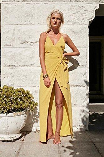 De De Vestido V Meizizivestido Casual Puro MeiZiZi yellow Noche Vestido Cuello YA4Afq