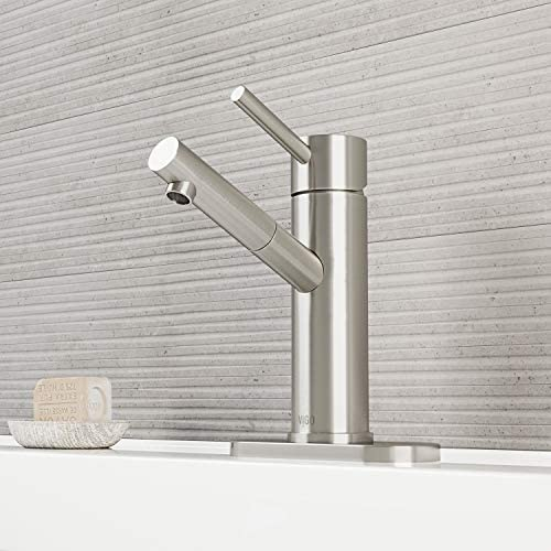 VIGO VG01009BNK1 Noma 8 Inch Brushed Nickel Bathroom Faucet, Single-Hole Deck-Mount, Lavatory Faucet for Vanity Sink, Seven Layer Plated Finish